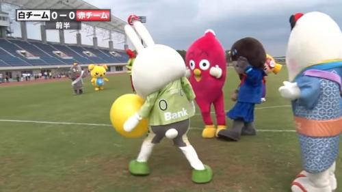 Blatant handball Costumed mascot character(yuru-chara) soccer meet