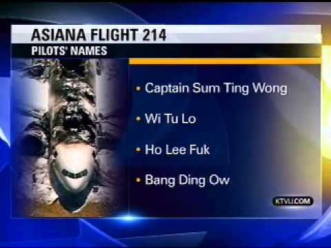 News Station Reports Asiana Flight 214 Pilots Names Sum Ting Wong