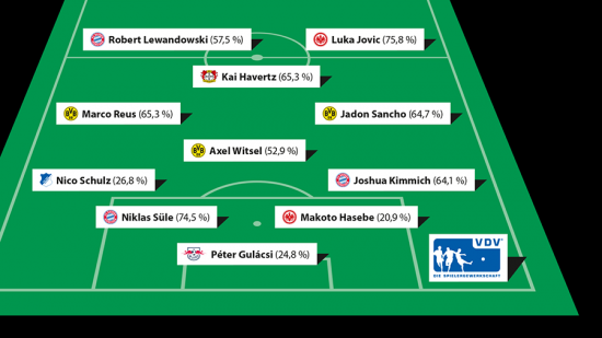 Bundesliga team of the season voted by the professional football players in Germany