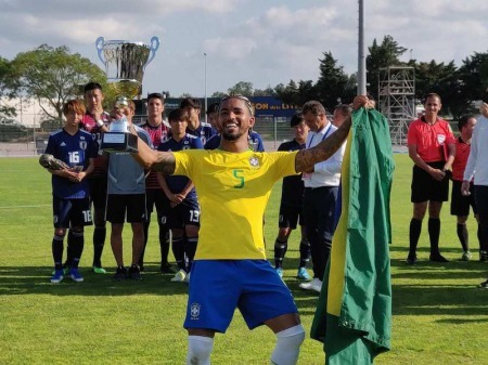 Man Citys Douglas Luiz was named best player at the Toulon Tournament after his Brazil side won final against Japan