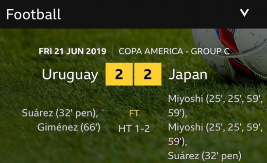 How did it only finish 2-2 BBCSport Miyoshi on fire and Suarez scoring penalties for both teams