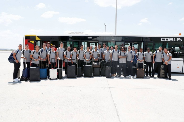 Real Madrids squad travelling from Madrid to Montreal and US