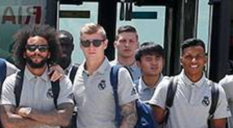 Real Madrids squad travelling from Madrid to Montreal with kubo