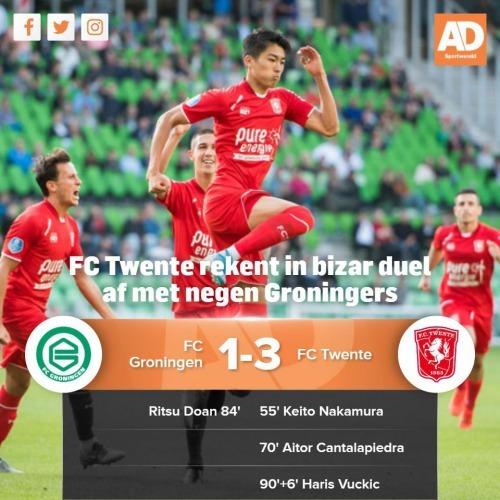 FC Groningen 0 - [1] FC Twente Keito Nakamur Free Kick Goal