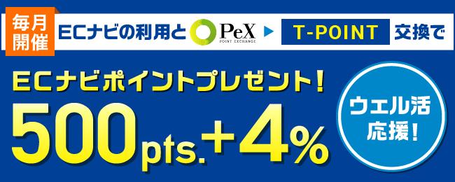 Tポイント交換で500pt+4%