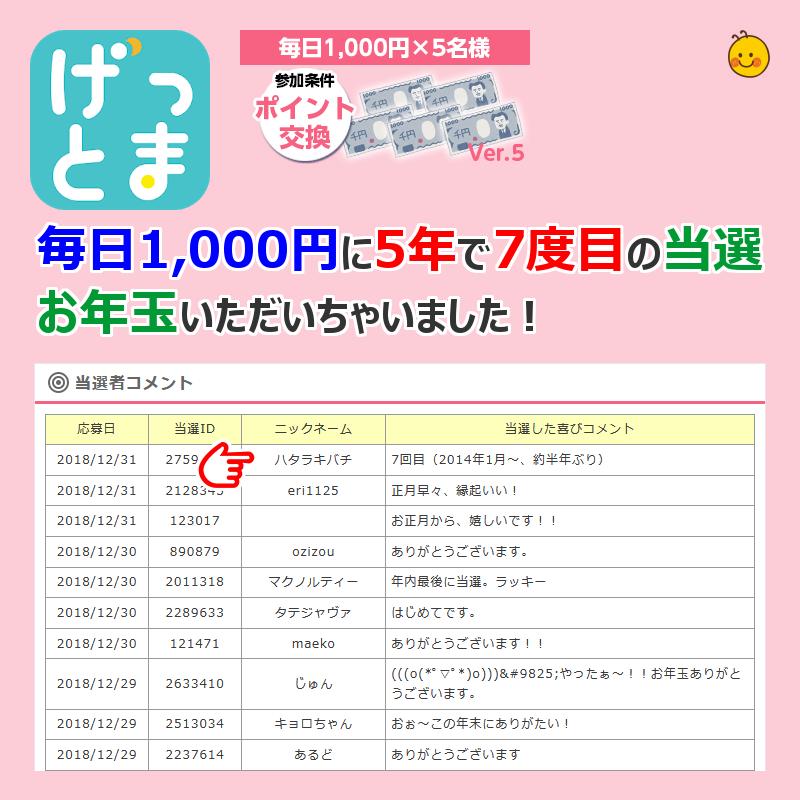 毎日1,000円 当選