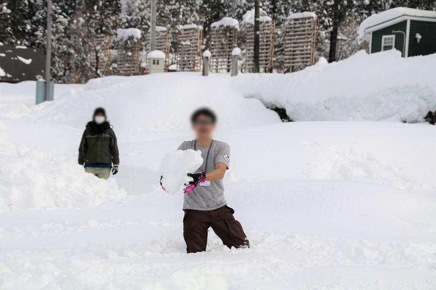 雪上で半袖のパパさん
