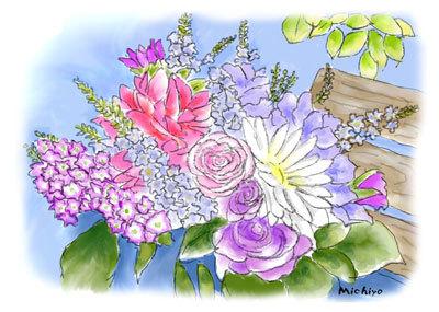 バラ園の花束