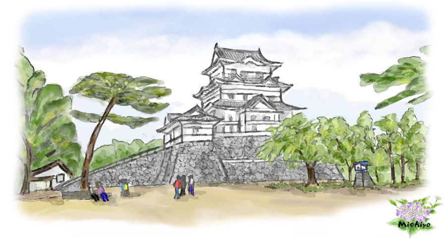 小田原城--紫陽花入り