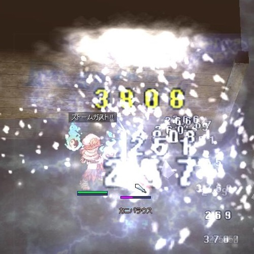 同じくカニバラウス相手に暴走魔力発動時のASストームガスト。