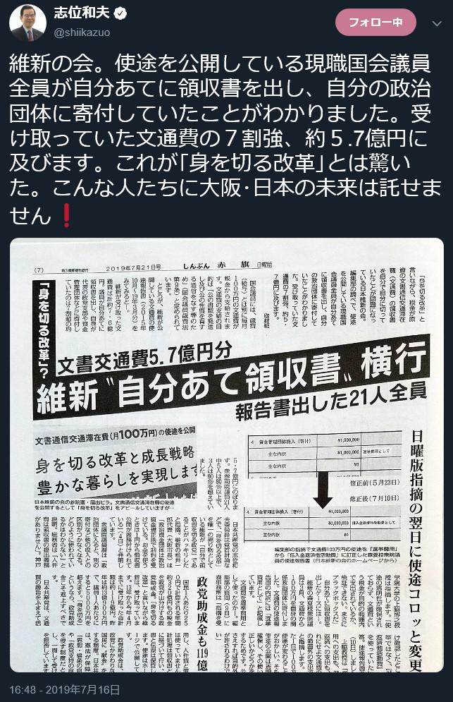 「維新」議員全員が自分宛に領収証を発行し、自分の政党団体に寄付していた(共産党:志位和夫ツイッター)