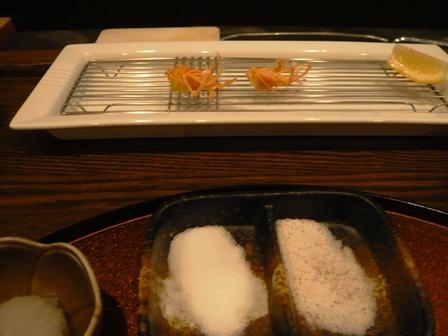 心来:コース料理;海老足殻