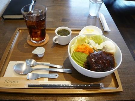 ノイエス:8月のランチ;ロコモコ丼1