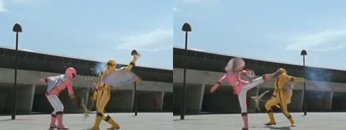 戦隊ヒーロー、マジイエローが姉のマジピンクにやられる