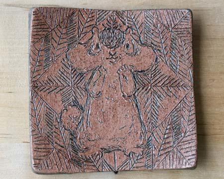 ヤコのオーブン陶土描き落とし茶上