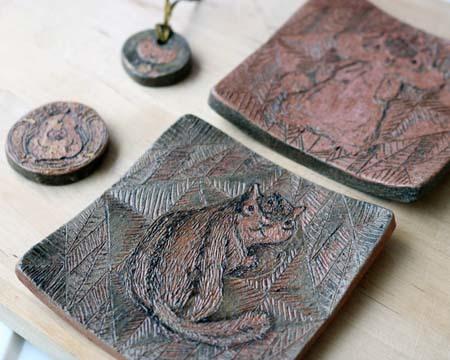 ヤコのオーブン陶土描き落とし4品