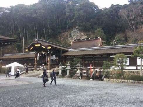 本殿と松尾山 H31.02.10撮影