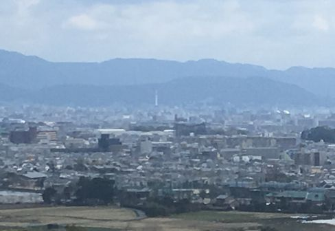 嵯峨天皇陵から見える京都タワー_H31.02.10撮影