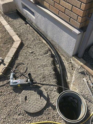 暗渠パイプ施工完了 雨水枡へ接続をしました