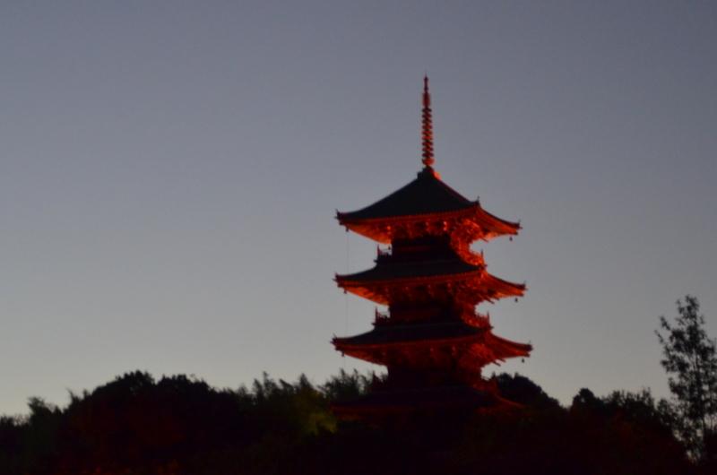 塔も色づく