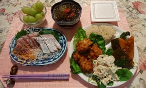180914 晩御飯 南瓜煮物・蓮根サラダ・鶏唐