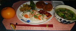190321 晩御飯 牛肉コロッケと豚汁と筍煮物