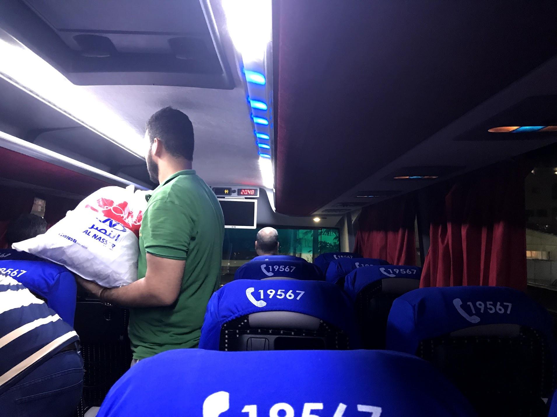 カイロへのバス車内