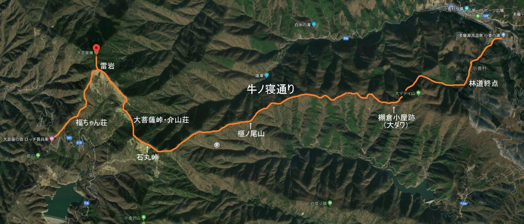 大菩薩嶺・牛ノ寝通り地図