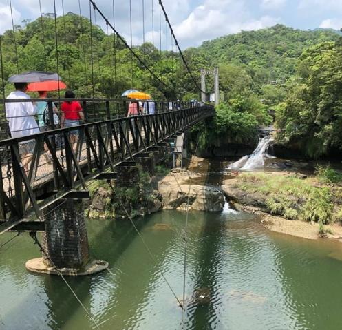 滝へのつり橋