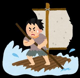 海で漂流して筏を漕ぐ遭難者