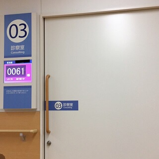 診察室前での待ち時間
